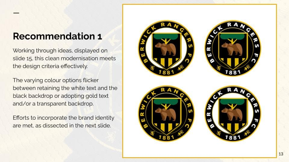 A sample page from the Berwick Rangers Football Club crest redesign pitch, by Clan United. It shows four logo variations.