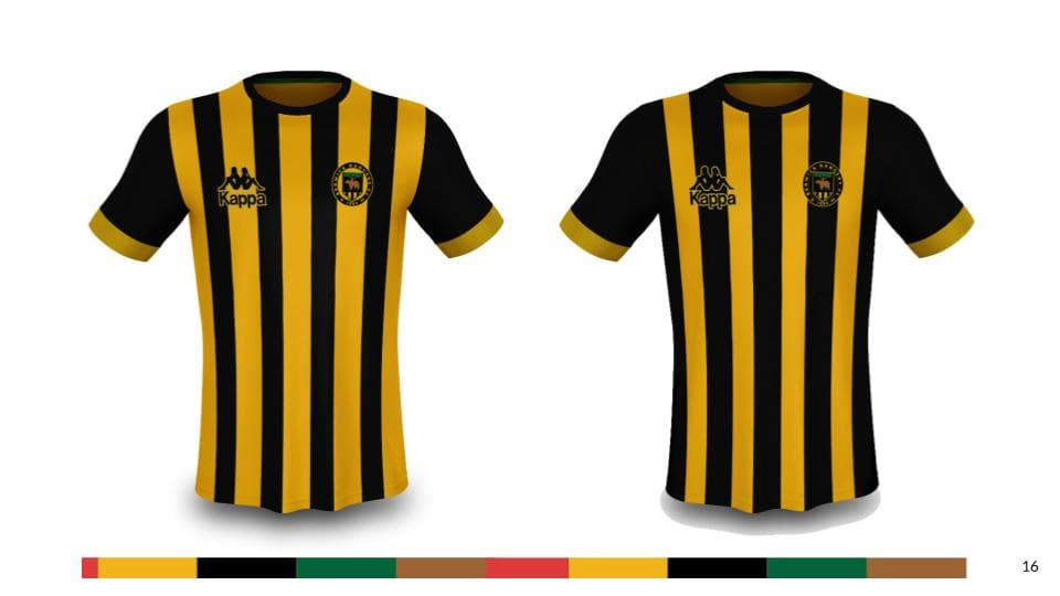 An example of the new clan united BRFC crest placed on variations of the classic black and gold striped football shirts.