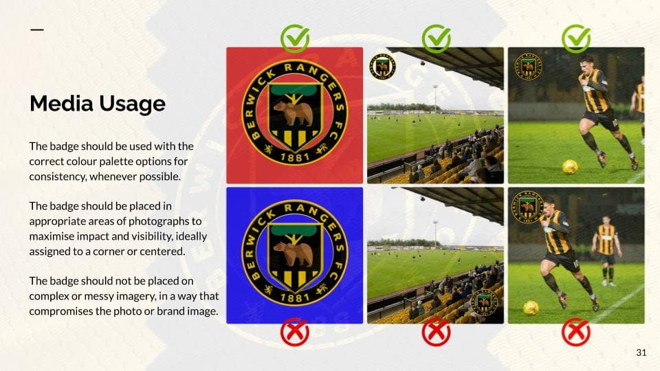 An example page from the Berwick Rangers Football Club brand book by Clan United, highlighting media usage for the new crest.