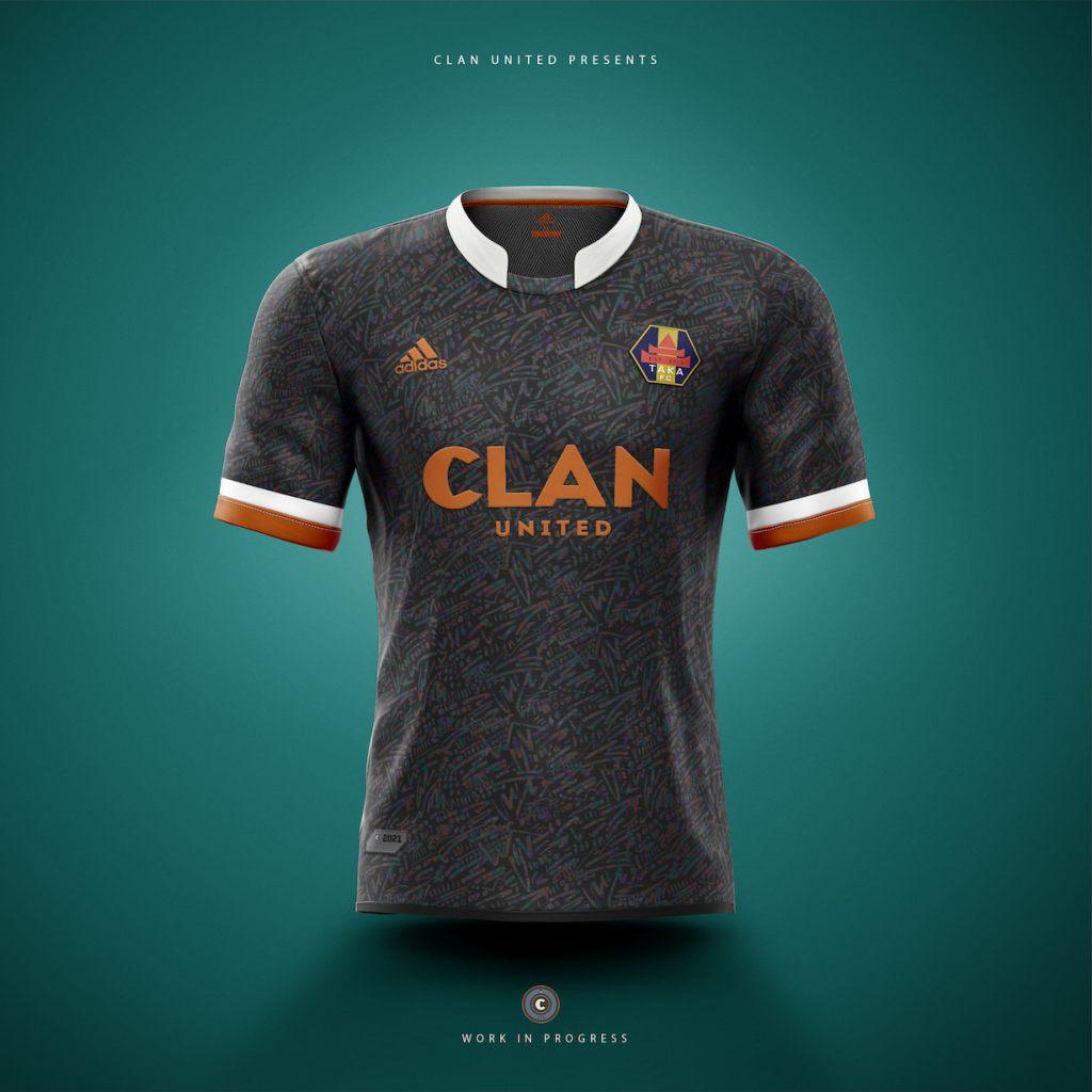A Mockup of a 'Taka FC' Football Shirt by Clan United.